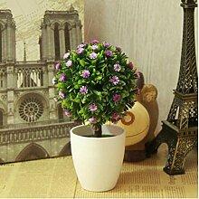 Simulation Künstliche Pflanze Blume Fake Blume Bonsai Kleine Baum (sehr viel Farbe) Ornamente Schläge Fake Baum Gras Ball Tischdekoration (Multi-Color) , q
