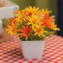 Simulation Von Kleinen Ornamenten Dekoration Im Inneren Die Plastikblumen, Getrocknete Blumen, Schmuck, Heimtextilien Tisch Kaffeekanne, Kleine Chrysantheme - Orange