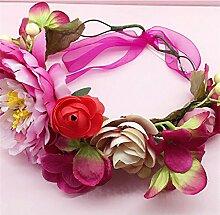 SINCERE@ Brautkranz Kopfschmuck Haar-Accessoires Strand Kopf Blume Kopfband Flitterwochen Hochzeit, Hochzeit, Hochzeit Schmuck Zubehör (Pflaume und Rot)