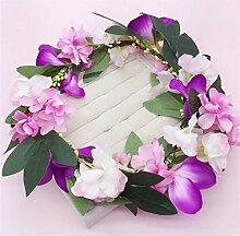 SINCERE@ Die neue Braut Kopfschmuck Braut süße Wind Simulation Blumen Kranz am Meer Badeort Schmuck Accessoires verheiratet (lila Pink)