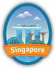 Singapore Travel Emblem Landmark - Self-Adhesive