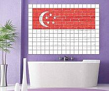 Singapur Fliesenaufkleber 15 20 cm Flagge Fahne
