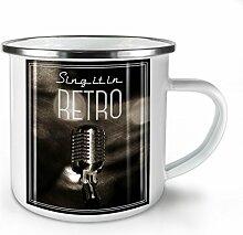 Singen Retro Foto Jahrgang Weiß Emaille-Becher 10 oz | Wellcoda