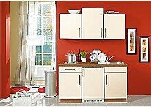 Single-Küchenzeile Magnolie Matt/Walnuss inkl. Geräten