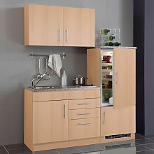 Single-Miniküche in Buchefarben Kühlschrank