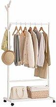 Single Rail Holz Kleiderständer mit 6 Seitenhaken