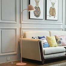 Single Stem Metall Stehlampe, Eisen Lampenschirm, Höhe 63,04, E27, Nordic Modern Style Wohnzimmer Schlafzimmer Bedside Study Office Stehlampe (Color : Pink)