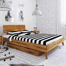 Singlebett aus Wildeiche Massivholz Bettkasten
