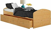 Singlebett Einzelbett Bett MISSA 90x200 cm, 3 Schubladen Kiefer massiv Honigfarbe lackiert , im Landhausstil