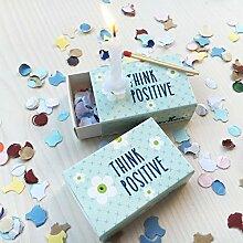 Sinnwert Mini-Geschenkidee Think positive - tolles Mirbringsel, Geburtstagsgeschenk oder Willkommensgeschenk mit Kerze als kleine Aufmerksamkeit, Präsent für Frauen, Männer und Freunde