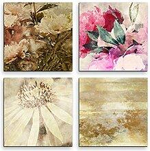 Sinus Art 4 Bilder Set je 40x40cm Abstrakt Blumen