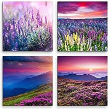 Sinus Art 4 Bilder Set je 40x40cm Lavendel