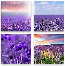 Sinus Art 4 Bilder Set je 40x40cm Lavendelfeld