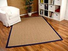 Sisal Astra Natur Teppich Nuss Bordüre Blau in 16 Größen