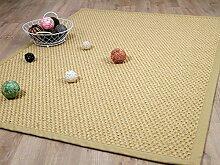 Sisal Natur Teppich Honig Grobe Optik Bordüre Beige in 2 Größen