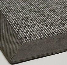 Sisal-Optik In- und Outdoor-Teppich Flachgewebe hochwertig genähte Bordüre, Variante: hell-grau 120x170, lieferbar in 9 Größen