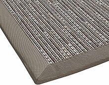 Sisal-Optik In- und Outdoor-Teppich Flachgewebe hochwertig genähte Bordüre, Variante: hell-grau 160x230, lieferbar in 9 Größen