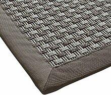 Sisal-Optik In- und Outdoor-Teppich Flachgewebe hochwertig genähte Bordüre, Variante: hell-grau 80x250, lieferbar in 9 Größen