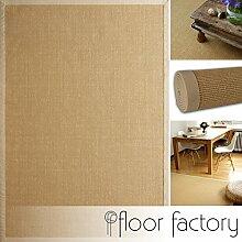 Sisal Teppich Beige 80x150 cm 100% Naturfaser mit Leinenbordüre