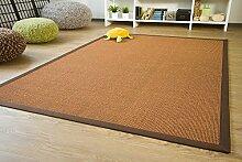 Sisal Teppich Brazil mit Bordüre Farbe braun dunkel braun Premium Qualität 100% Sisal, Größe: 200x250 cm