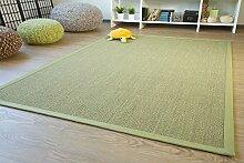 Sisal Teppich Brazil mit Bordüre Farbe grün Premium Qualität 100% Sisal, Größe: 250x300 cm
