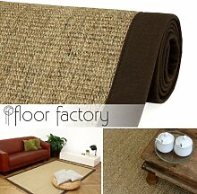 Sisal Teppich Chocolate braun 130x190 cm 100% Naturfaser mit Leinenbordüre