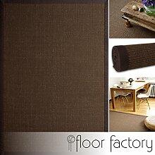Sisal Teppich Coffee braun 80x150 cm 100% Naturfaser mit Leinenbordüre