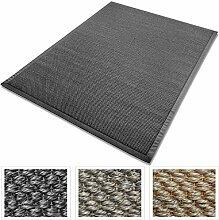 Sisal Teppich mit Bordüre | Premium Qualität mit Tiger-Eye-Struktur | natürlicher Sisalteppich mit Einfassung aus Baumwolle | verschiedene Größen und Farben (Anthrazit, 200x290 cm)