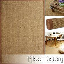 Sisal Teppich Mocha braun 110x170 cm 100% Naturfaser mit Leinenbordüre