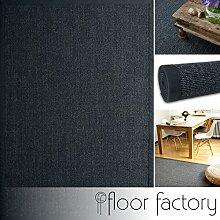 Sisal Teppich Stone grau anthrazit 160x230 cm 100% Naturfaser mit Leinenbordüre