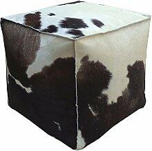 SIT-Möbel 1040-30 Sitzwürfel This und That, 40 x 40 x 40 cm, Kuhfell natur, auf Holz gezogen, quadratisch, braun / weiß
