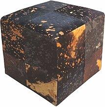 SIT-Möbel 1041-22 Sitzwürfel This und That, 40 x 40 x 40 cm, Kuhfell, eingefärbt und bedruckt, auf Holz gezogen, quadratisch, braun auf gold