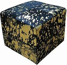 SIT-Möbel 1042-22 Sitzwürfel This und That, 40 x 40 x 40 cm, Kuhfell, eingefärbt und bedruckt, auf Holz gezogen, quadratisch, scshwarz auf gold
