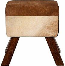 SIT-Möbel 1050-30 Hocker This und That, 39 x 28 x 46 cm, mango / MDF / Kuhfell