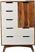 SIT-Möbel 7701-10 Brotschrank Sixties, antikfinish, 80 x 40 x 120 cm, braun / weiß