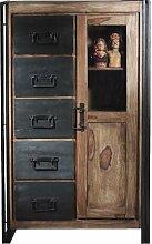 SIT-Möbel 9201-01 Brotschrank Panama Shesham natur mit schwerem Altmetall und Gebrauchsspuren, 90 x 45 x 147 cm, 1 Tür, 5 Schubladen, 3 Böden