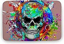 Sitear Art Badezimmerteppich mit Totenkopf-Motiv,