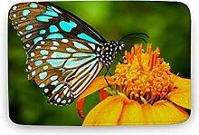 Sitear Badezimmerteppich mit blauem Schmetterling