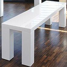 Sitz-Bank weiß Hochglanz aus MDF 180x35cm recht-eckig   Luca   Moderne Holz-Bank aus MDF Holz weiss 180cm x 35cm