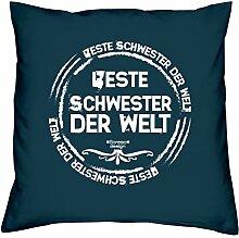 Sitz-Polster-Deko-Stuhl-Kissen mt Füllung und Gratis Urkunde Beste Schwester der Welt Ideales Geschenk zum Geburtstag Weihnachten Farbe:navy-blau