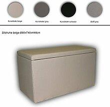 Sitz-Truhe Wäsche-Truhe in versch. Ausführungen, Farbe:Lederimitat schwarz;Größe:Truhe L80cm