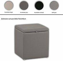 Sitz-Truhe Wäsche-Truhe in versch. Ausführungen, Farbe:Lederimitat grau;Größe:Hocker L40cm
