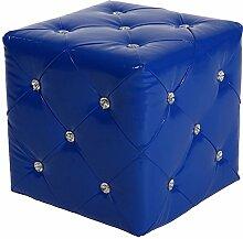 Sitz Würfel Hocker Möbelstück Kunstleder Optik gesteppt blau Deko Strasssteine BHP B413018-9