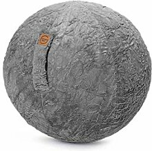 Sitzball Fluffy Webplüsch mittelgrau ca 65cm Ø