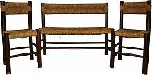 Sitzbank & 2 Stühle aus Holz & Rattan von