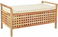 Sitzbank aus massivem Walnuss Holz mit Polster Badmöbel Wäschekorb Truhe