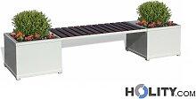 Sitzbank aus Metall mit Blumenkasten h140180
