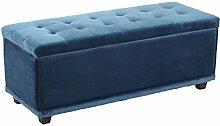 Sitzbank, Bezug Samt Blau, zerlegt, mit Stauraum, Füße Dunkel Kunsstoff,