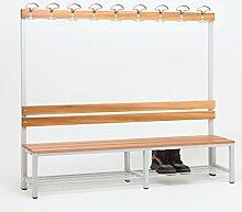 Sitzbank für Umkleide mit Garderobenrückwand (1-seitig) inkl. 1 x Sitzbank, HxBxT:170x200x30 cm, mit Schuhrost, Marke: Szagato (Umkleidesitzbank, Umkleidebank, Garderobenbank, Echtholz)