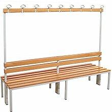 Sitzbank für Umkleide mit Garderobenrückwand